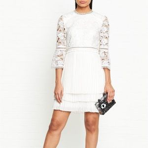 STEFONI PLEATED LACE BODICE DRESS